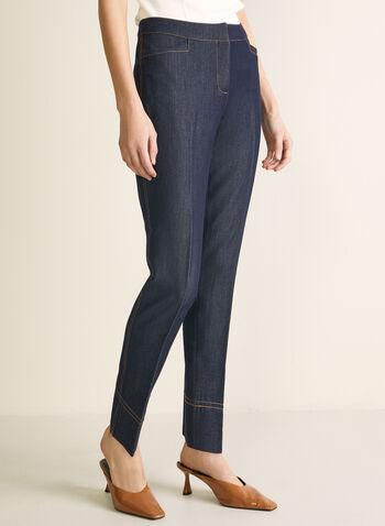 Pantalon coupe moderne à jambe droite, Bleu,  pantalon, moderne, jambe droite, longueur cheville, pinces, poches, printemps été 2020