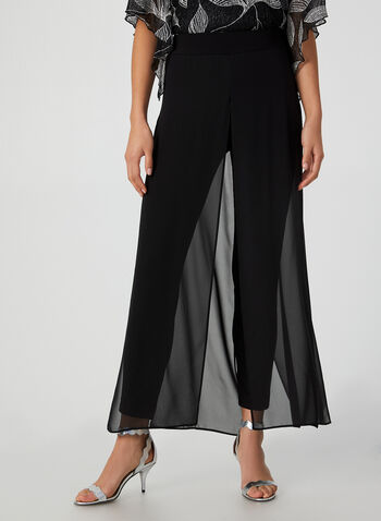 Modern Fit Chiffon Overlay Pants, Black, hi-res,  canada, pants, chiffon pants, jersey pants, pull-on, elastic, chiffon, holiday, fall 2019, winter 2019