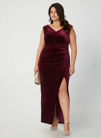 V-Neck Velvet Gown, Red,  dress, occasion dress, gown, velvet, V-neck, extended shoulder, slit, fall 2019, winter 2019