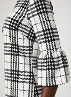 Houndstooth Print Liverpool Knit Dress, White, hi-res