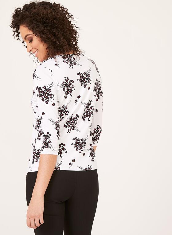 Floral Print ¾ Sleeve Top, White, hi-res