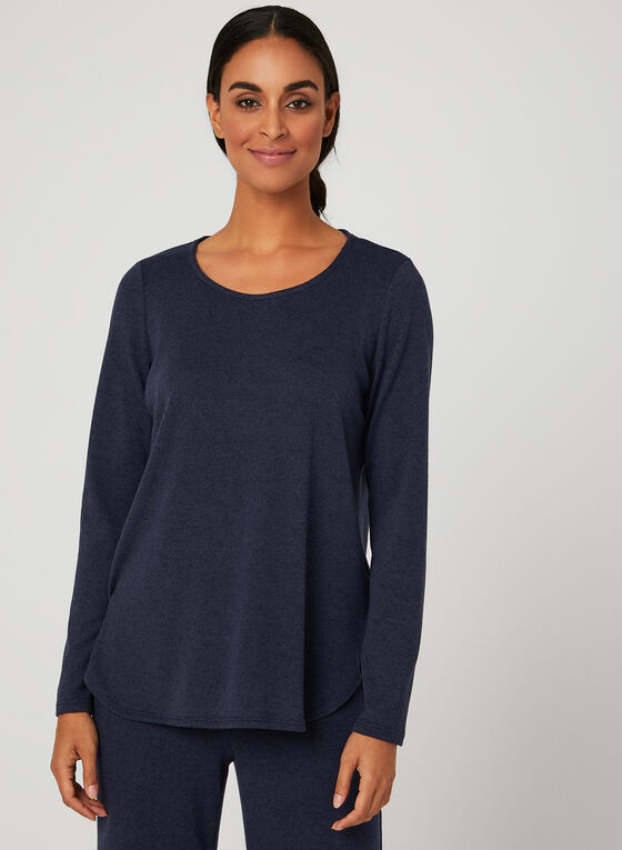 ¾ Sleeve Knit Top, Blue, hi-res