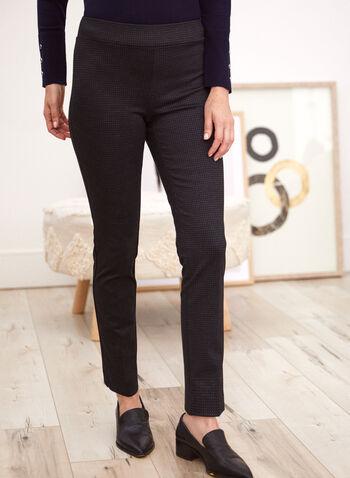Pantalon à enfiler à jambe droite, Noir,  pantalons, bas, fait au canada, à enfiler, pull-on, jambe droite, motif géométrique subtil, confortable, extensible, point de rome, automne hiver 2021