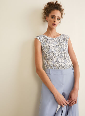 Sleeveless Floral Top, Blue,  top, sleeveless, scoop neck, jersey, floral, spring summer 2020