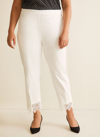 Lace Detail City Fit Pants, Off White,  pants, pull-on, city fit, slim leg, pleats, lace, crochet, spring summer 2020