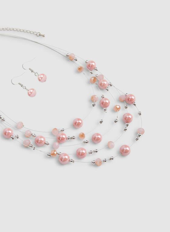 Ensemble boucles d'oreilles et collier multirangs, Rose, hi-res