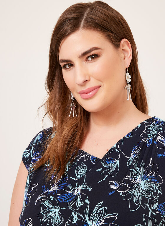 Robe drapée style portefeuille à motif floral, Bleu, hi-res