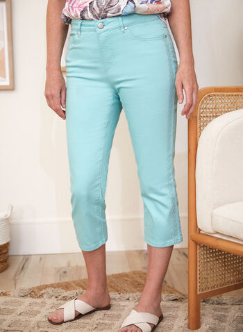 Embroidered Detail Capri Pants, Green,  spring summer 2021, bottoms, pants, pull on, capris, made in Canada, pocketed, metal rivets, embroidery,