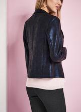 Scuba Knit Zipper Trim Jacket, Blue, hi-res