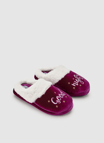 Ellen Tracy - Embroidered Velour Slippers, Red, hi-res