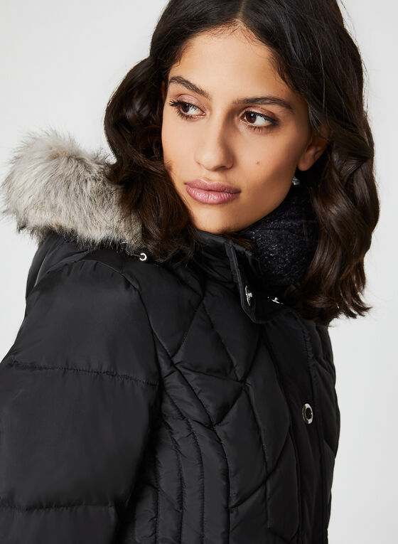 Quilted Down Coat , Black