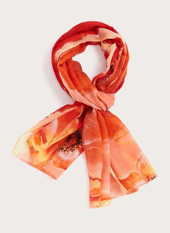 Foulard léger à imprimé floral, Orange, hi-res