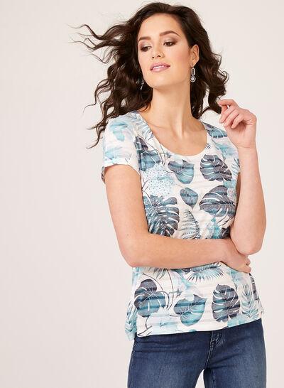 T-shirt à motifs floraux et détails strass