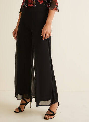 Modern Fit Wide Leg Pants, Black,  pull on, spring 2019, chiffon