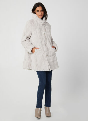 Novelti - Reversible Faux Fur Coat, Silver,  coat, faux fur, faux fur coat, reversible coat, water repellent, buttoned coat, fall 2019, winter 2019