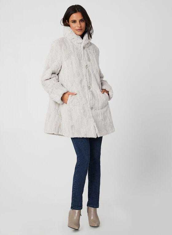 Novelti - Reversible Faux Fur Coat, Silver