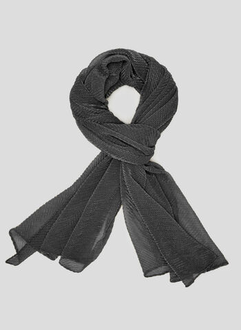 Lightweight Textured Scarf, Grey, hi-res