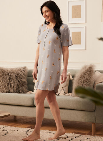 Cat Print Nightshirt, Grey,  nightshirt, pyjamas, cat print, dotted, short sleeves, round neck, button front, henley, spring summer 2021