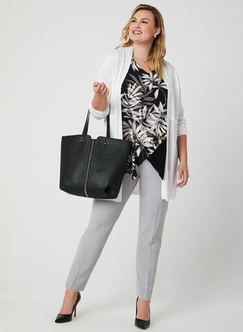 Asymmetric Leaf Print Blouse, Black,
