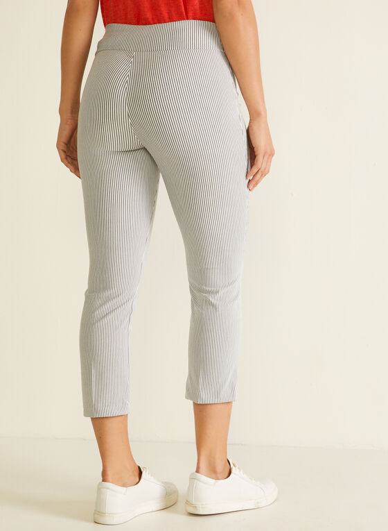 Stripe Print Pull-On Capris, Grey