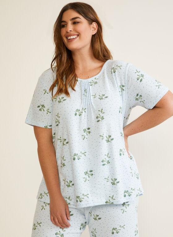 Ensemble pyjama plissé à fleurs, Bleu
