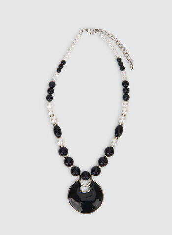 Two-Toned Pearl Necklace, Black, hi-res,  two-toned, pearls, pendant, necklace, fall 2019, winter 2019