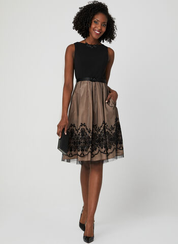 Sleeveless Taffeta Dress, Black, hi-res