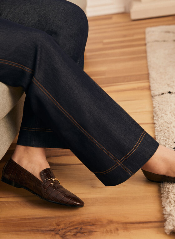 Pantalon coupe moderne aspect denim, Bleu
