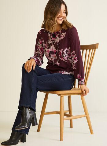 Blouse florale à manches bouffantes, Violet,  automne hiver 2020, haut, blouse, manches longues, manches bouffantes, fleurs, fleuri, floral, motif, fait au Canada