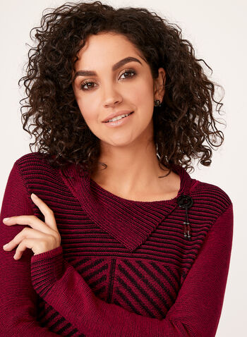 Split Collar Knit Sweater , Red, hi-res