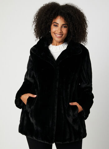 Novelti - Faux Fur Coat, Black, hi-res,  Novelti, faux fur, coat, long sleeves, fall 2019, winter 2019