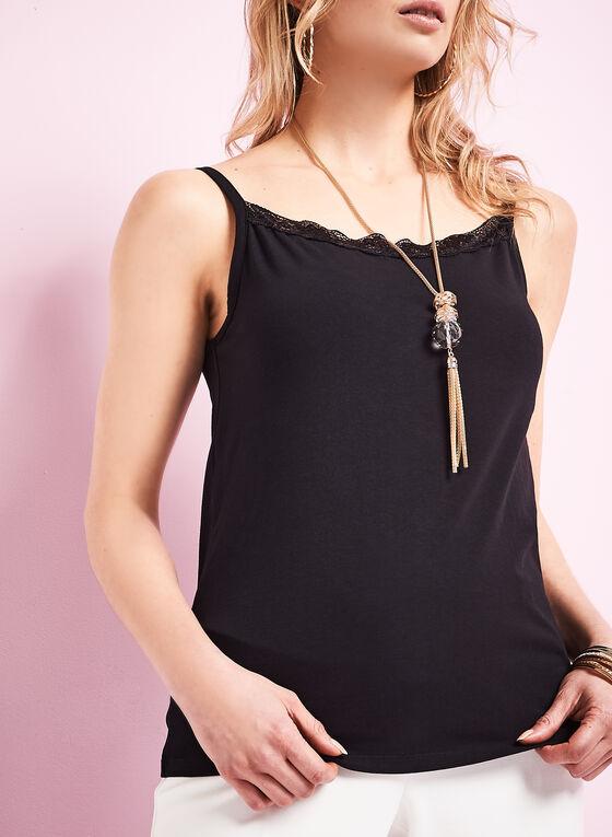 Lace Trim Cotton Camisole, Black, hi-res