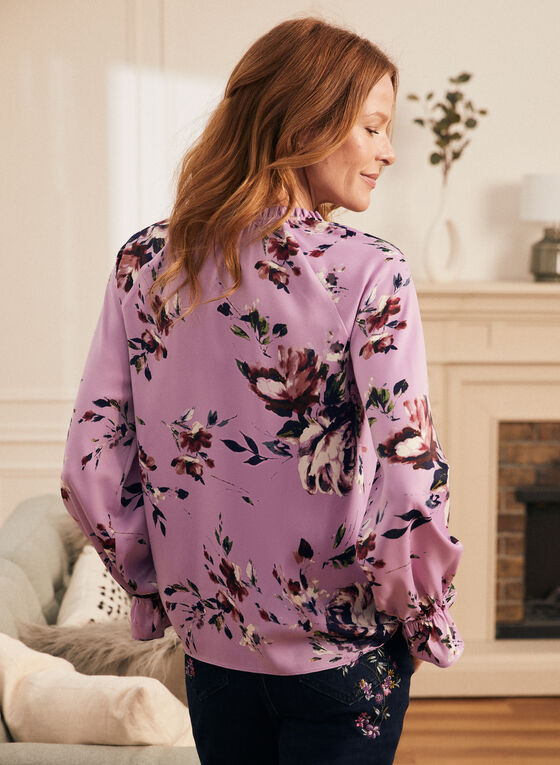 Floral Print Shirred Detail Blouse, Purple