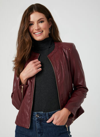 Faux Leather Front Zip Blazer, Red,  blazer, zipper, long sleeve, faux leather, rivets, fall 2019, winter 2019