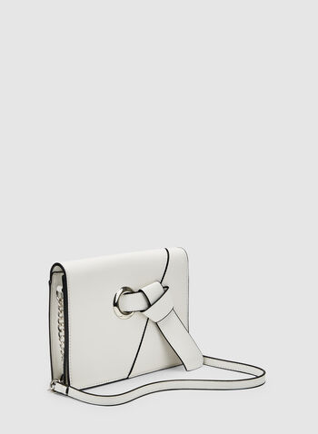 Knot Detail Crossbody Bag, White,  grommet, faux leather, chain handle, spring 2019