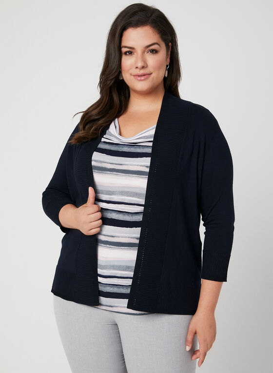 Textured Edge To Edge Cardigan, Blue