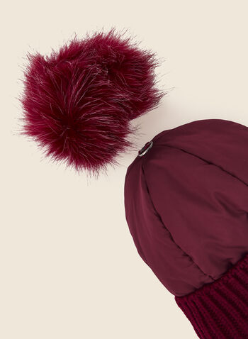 Removable Pom Pom Quilted Hat, Red,  fall winter 2020, hat, accessories, quilted, knit, pompom, faux fur
