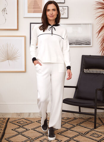 Contrast Trim Pull-On Pants, White,  pants, pull on, straight leg, pockets, contrast trim, fall winter 2021