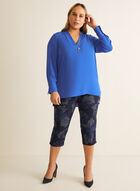 Floral Print Pull-On Capris, Blue