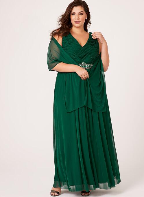 Robe plissée et ceinture enjolivée, Vert, hi-res