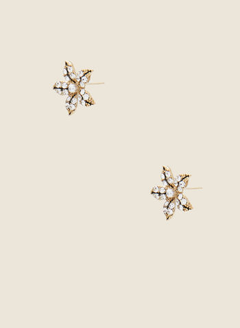 Star Shaped Crystal Earrings, Black,  fall winter, 2020, earrings, accessory, jewel, crystals, pearl, holiday, holiday 2020, jewellery