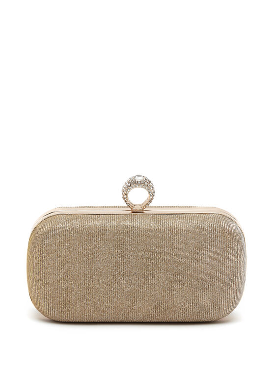 Crystal Ring Embellished Box Clutch, Gold, hi-res