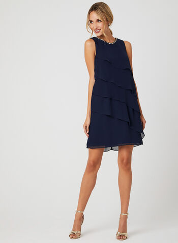 Beaded Neck Tiered Dress, Blue, hi-res