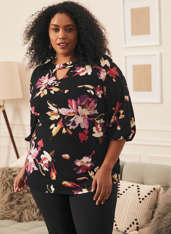 Floral Print Keyhole Detail Top, Black,  top, floral, bubble sleeves, 3/4 sleeves, spring summer 2021