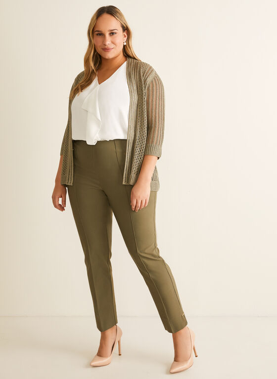 Pointelle Open Front Cardigan, Green