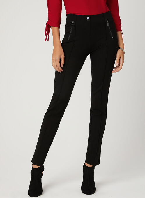 Pantalon pull-on coupe cité à jambe étroite, Noir, hi-res