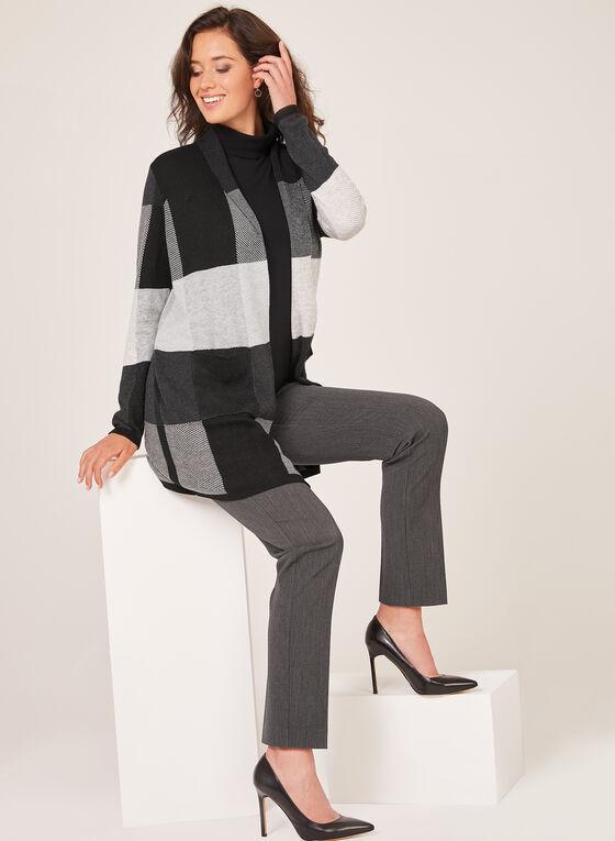 Alison Sheri - Cardigan ouvert à blocs de couleurs, Noir, hi-res