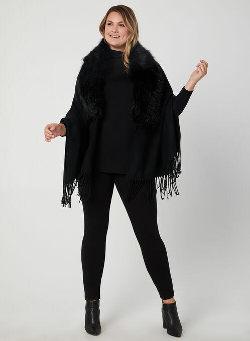 Faux Fur Collar Wrap, Black