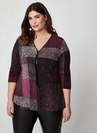 Tunique à col zippé et motif abstrait, Violet