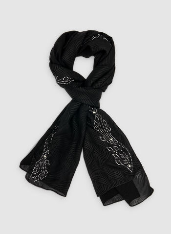 Embellished Scarf, Black,  spring 2019, beads, pearls